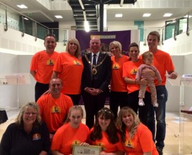 Charity for kids commitee with the mayor of Hastings on winning 2014 Charity of the year award