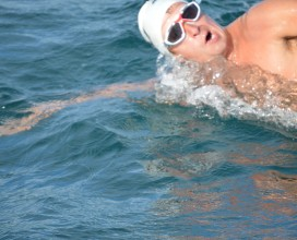 Chris in the Channel swim 2013