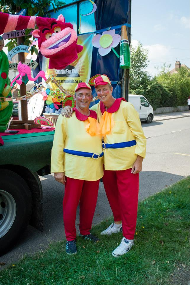 Dean and Chris as Tweedle Dumb and Tweedle Dee - Bexhill Carnival