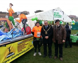 The Mayor of Hastings supporting an extremely cold -2c half marathon 2013